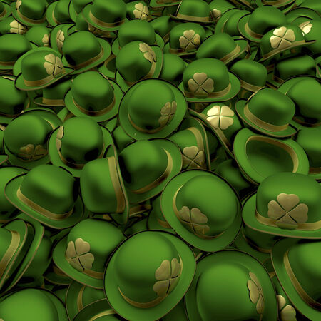 bowler hats: Pool, heap of green bowler hats with golden shamrocks for st  patricks day