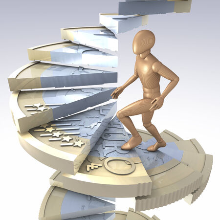 Figure walking up winding-stairs made of one euro coin photo