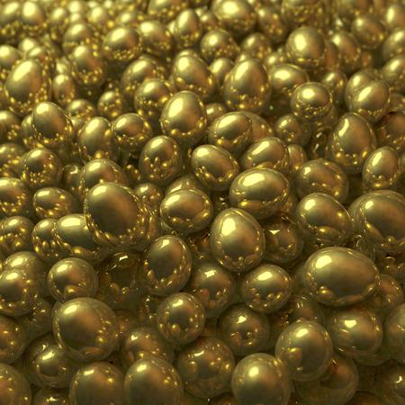 Pool, heap of golden eggs photo