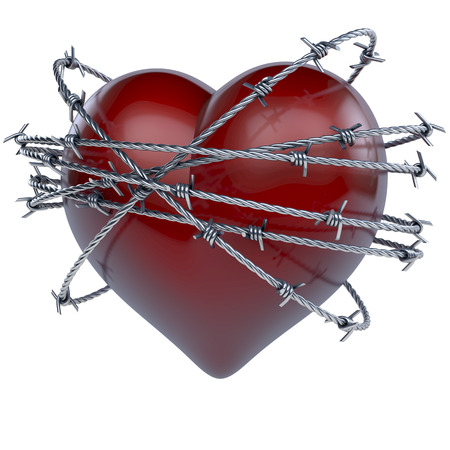 Glossy red heart with barbwire around it Stock Photo