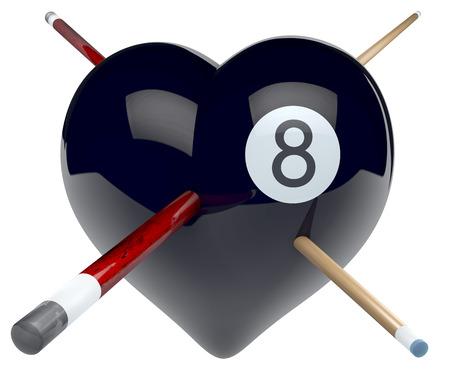 Black eight billard ball heart with cues poked through it photo