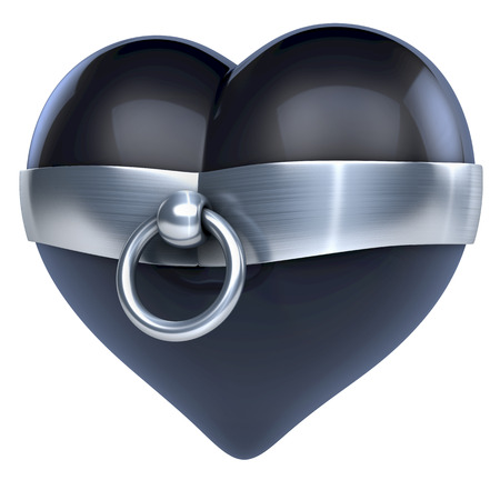 Black latex heart wit store of o ring around it