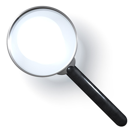 fbi: Magnifying glass over white background Stock Photo