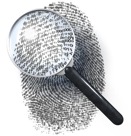 1-0-メッシュの指紋上の拡大鏡 写真素材