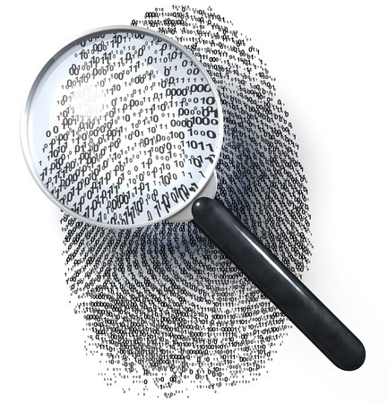 forensic science: Magnifying glass over fingerprint made of 1-0-grid Stock Photo