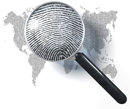 World map made of 1-0-grid with magnifying glass showing natural fingerprint