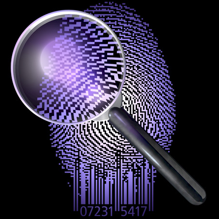 qrcode: Magnifying glass over fingerprint made of qr-code, uv lit scene
