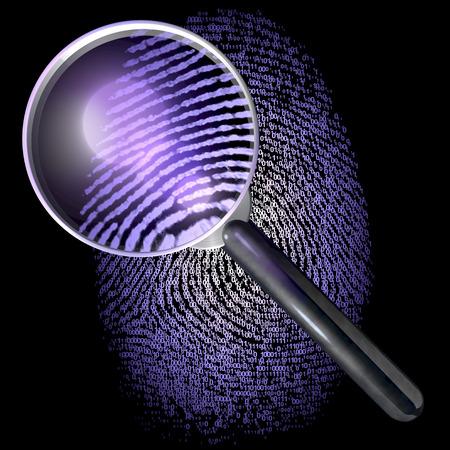 1-0-グリッド、表示自然指紋 uv 点灯シーンの指紋上の拡大鏡