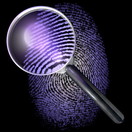 Magnifying glass over fingerprint made of 1-0-grid, showing natural fingerprint, uv lit scene