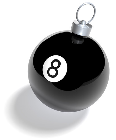 Black eight billiard ball as christmas bauble Stock Photo