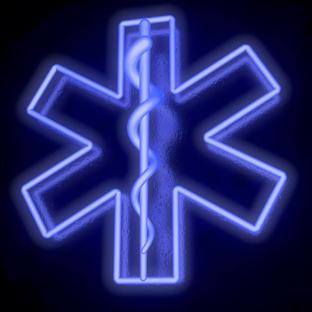 Star of life, ambulance sign, neon tubes, from bottom right photo