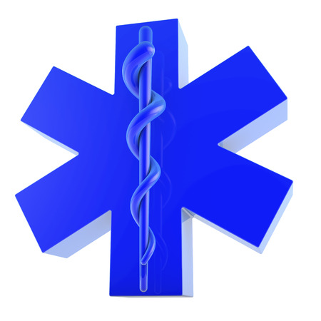 Star of life, ambulance sign, glossy, from bottom right photo