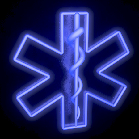 Star of life, ambulance sign, neon tubes, from top left photo