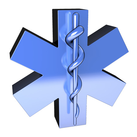 Star of life, ambulance sign, reflective, from top left