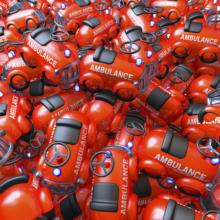 Pool, heap of glossy ambulance toy cars photo