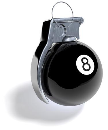 Black eight billiard ball as hand grenade photo