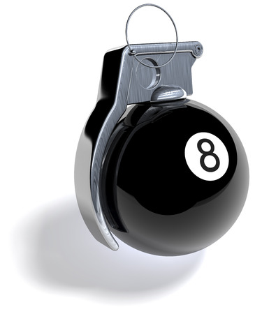 handgrenade: Black eight billiard ball as hand grenade Stock Photo