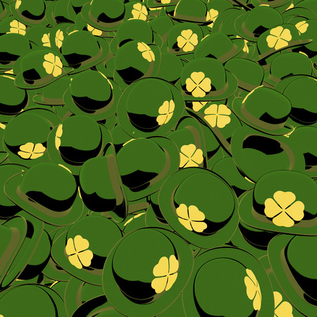 bowler hats: Pool, heap of st  patricks day green bowler hats with golden shamrocks on side