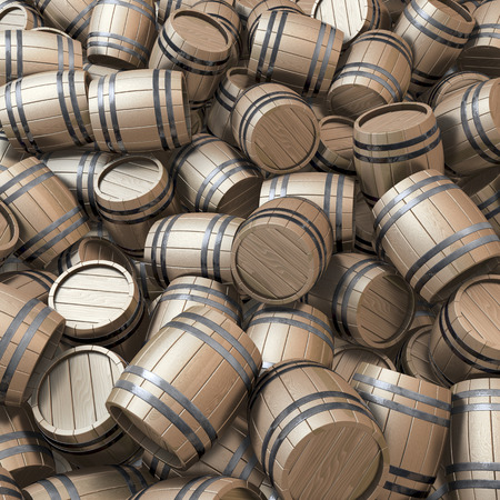 Pool, heap of classical wooden casks photo