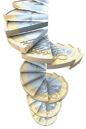 Winding-stairs made of one euro coins photo