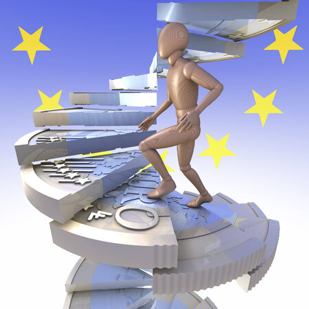Figur climbing a winding-stairs made of one euro coins
