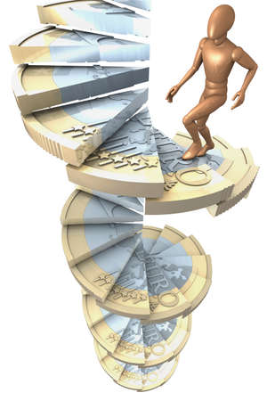 Figur climbing a winding-stairs made of one euro coins photo
