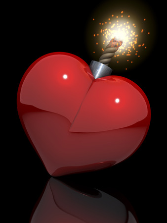 High glossy red heart in shape of classical bomb with lit fuse photo