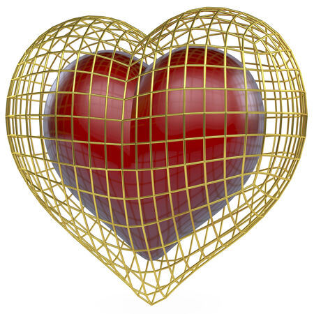 Red shiny heart in golden cage Stock Photo