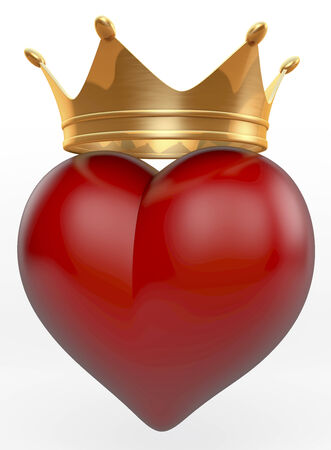 Red shiny heart with golden crown on top photo