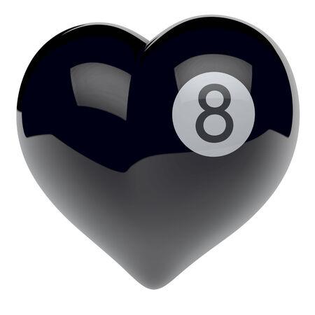 High glossy heart as a billiard black eight ball photo