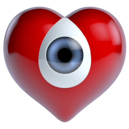 merged: Blue eye merged into red glossy heart