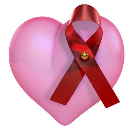 Pink heart with red shiny hiv bow, loop photo
