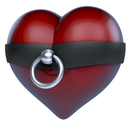 Dark red glossy heart with story of o ring in leather and steel around, bdsm style