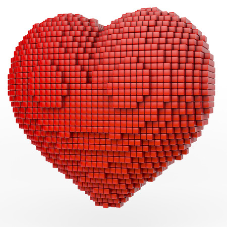 Red glossy pixeled heart