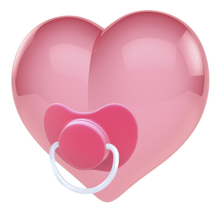 Baby girl heart with dummy, pacifier photo