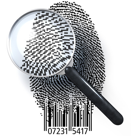 Magnifying glass over fingerprint in pixeled grid with bar code