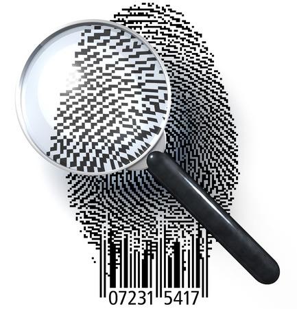 ean: Magnifying glass over fingerprint in pixeled grid with bar code