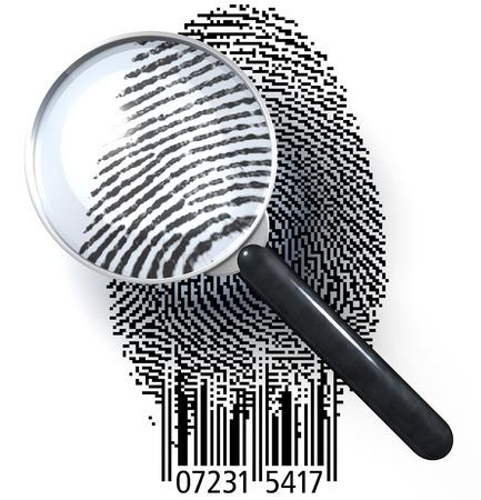 自然画像を示すバーのコードでチャールズモラース グリッドの指紋上の拡大鏡