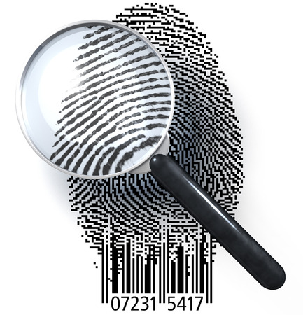ean: Magnifying glass over fingerprint in pixeled grid with bar code, showing natural picture Stock Photo