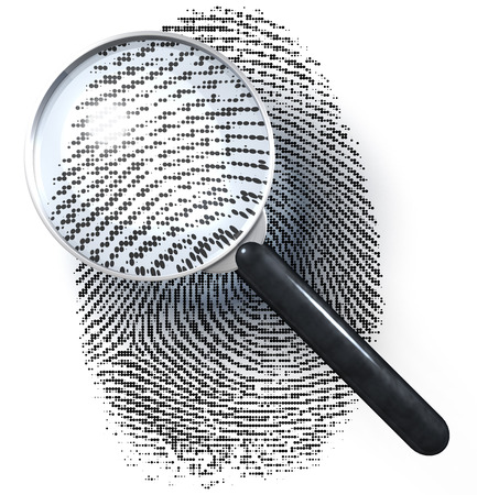 Magnifying glass over fingerprint in dot grid photo