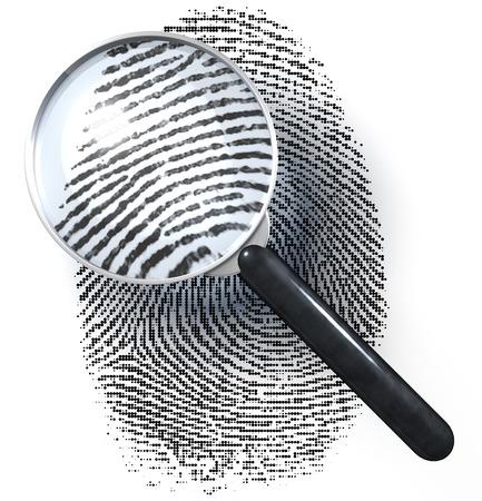 自然画像を示すドット グリッドの指紋上の拡大鏡