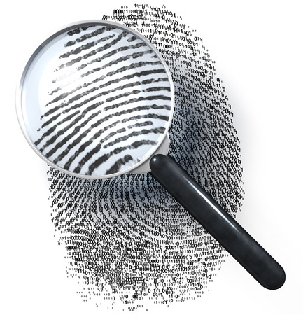forensic science: Magnifying glass over fingerprint in 1-0-grid, showing natural picture Stock Photo