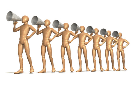 Group of figures calling through old-fashioned megaphones photo