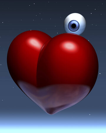 Human eye floating behind a red glossy heart in orbit, space photo