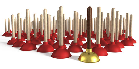 Group of plungers, one plunger made of precious wood and gold Stock Photo