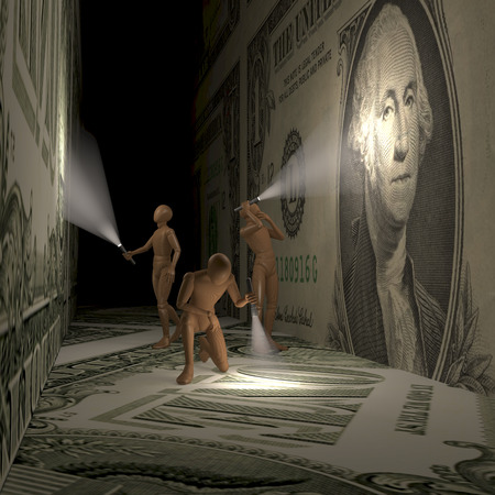 Three explorers, bankers searching a dark room with dollar banknote walls Stock Photo