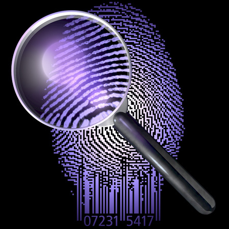 Magnifying glass over fingerprint made of qr code, showing natural fingerprint, uv lit scene Stock Photo