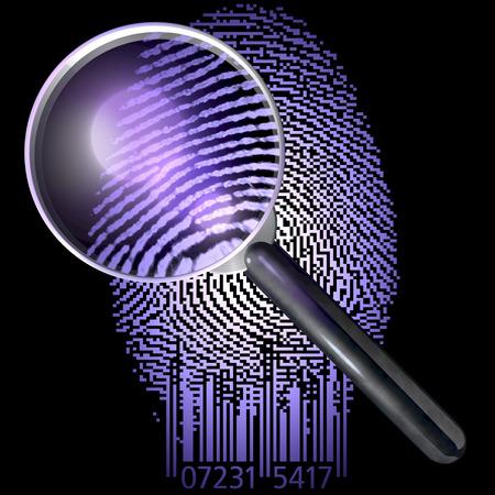 Qr コード表示自然指紋、uv の指紋上虫眼鏡点灯シーン
