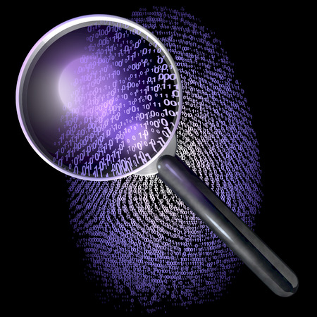 Magnifying glass over fingerprint made of grid of one and zero, uv lit scene photo