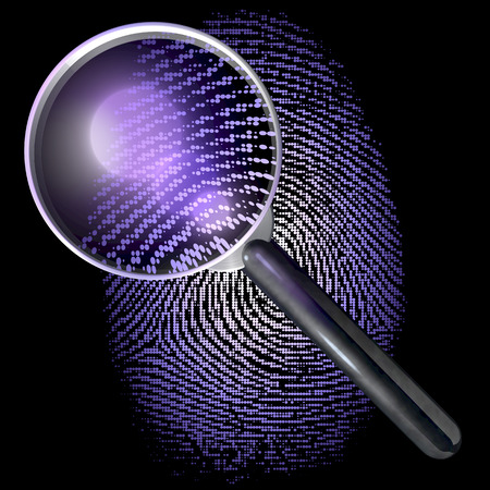 Magnifying glass over fingerprint made of dot grid, uv lit scene photo